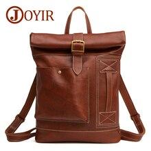 JOYIR 2019 Men Fashion Backpack Male Genuine Leather Travel Backpack Leather Business Bag Large Laptop Shopping Travel Bag 6396