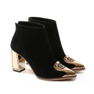 Image 3 - MORAZORA 2020 di alta qualità della mucca pelle scamosciata stivali da donna in pelle punta a punta stivali con zip alla caviglia per le donne di modo degli alti talloni scarpe nero
