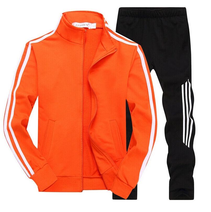 Men's Gym TrackSuit Sport Jacket Coat Suit Set Trousers Black Red White Orange Blue Outfits