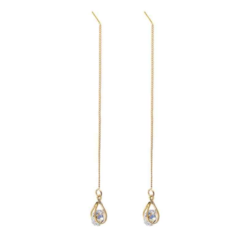 Nouveau boucles d'oreilles pendantes or argent couleur longue strass gland boucles d'oreilles femmes mariage boucle d'oreille mode bijoux en cristal étincelant