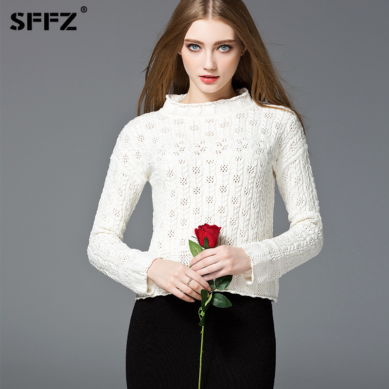SFFZ High Quality Solid Color Cotton Women Sweater Jumper Design Fashion Sweaters Long Sleeve O-Neck Tops Women Knitted Sweater