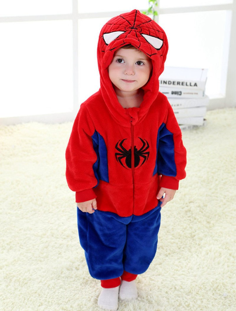 Spring and autumn baby boy clothes spiderman Captain America baby boy rompers Red Blue newborn clothes bodysuit one piece bebe (1)