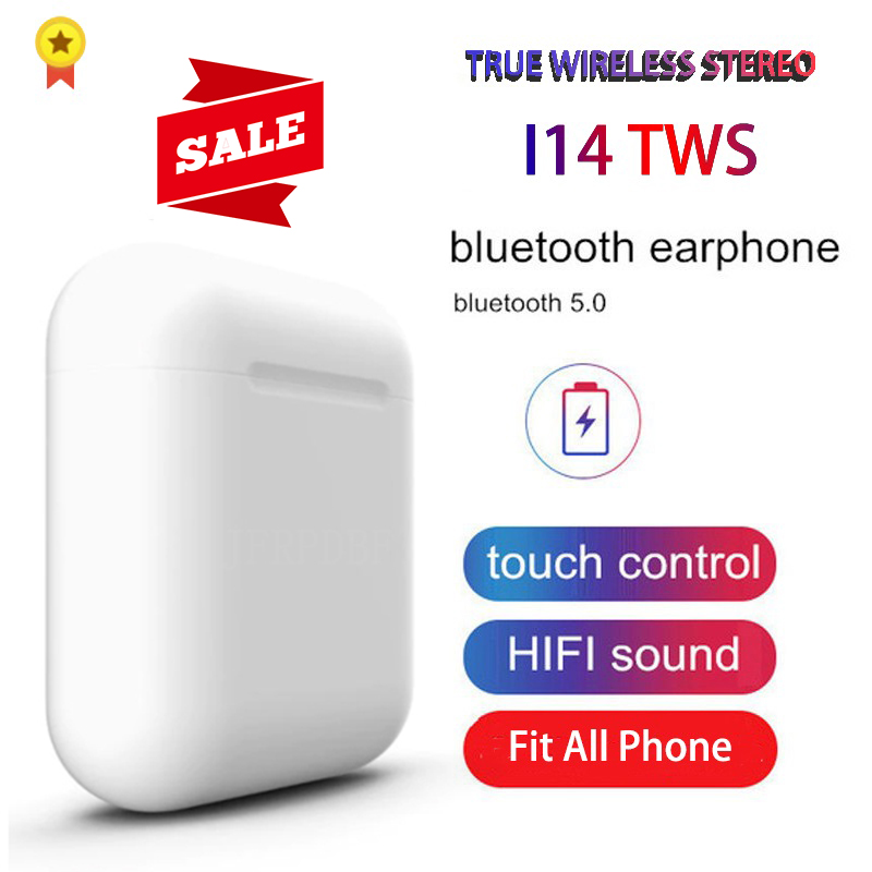 Original <font><b>i14</b></font> <font><b>TWS</b></font> Blutooth Earphone Mini Wireless Earbuds Stereo Headphone Sports Headset audifonos para celular elari PK i80 i88 image