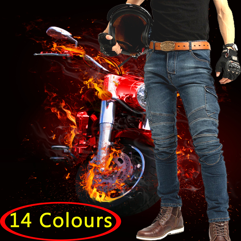 Classic Motorcycle Jeans Drop Resistance Slim Denim Cycling Racing Pants Motocross Off road Hockey Pants with