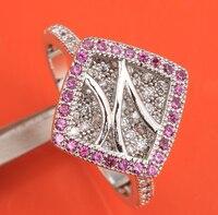 Hoa hồng Đỏ Garnet 925 Sterling Silver của Phụ Nữ Bên Jewelry Solitaire Nhẫn MỸ # Kích Thước 6 7 8 9 S1860