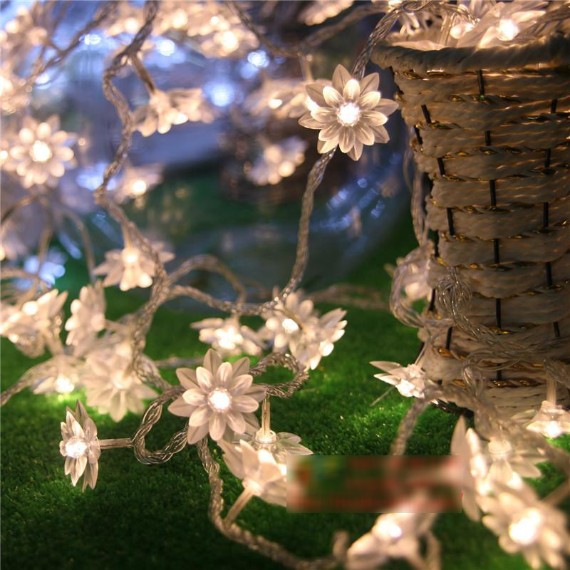 10 M 100 LED flores de loto cadena luces de hadas de Navidad Guirnalda Decoración Garland LED Wedding Party Holiday iluminación decoración para el hogar