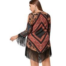 Plus Size 5XL Tribal Printed Chiffon Tassel Dress Women Fashion Geometric Argyle Print V Neck Dress