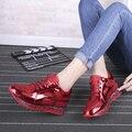 Mujeres Shoes2016 otoño y Primavera Café de Plata Negro Rojo de Empalme Señora Zapatos Casuales Al Aire Libre Zapato Plano cordones de la Plataforma zapatos