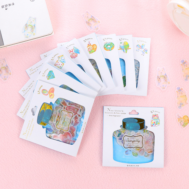 Coloffice 48PCs/Box PVC Kawaii Drift Bottle Stationery Sticker Cute Pocket Hot Stamping Album Decoration Sticker Students Gifts
