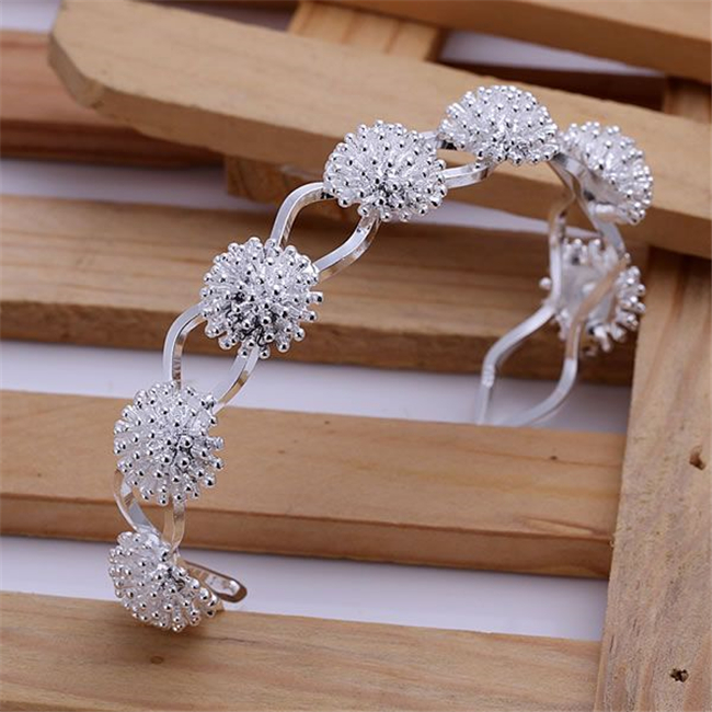Kn-b141 Wholesale Silver Plated Bangle Bracelets Factory Price 925 Free Shipping New Arrival Fashion Jewelry Fireworks Bangle Clear-Cut Texture