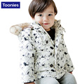 Hot Sale Autumn Winter Coat Cute Cartoon Printed Cotton-Padded Fashion Fur Collar Hooded Long Jacket Children Clothing NB0030