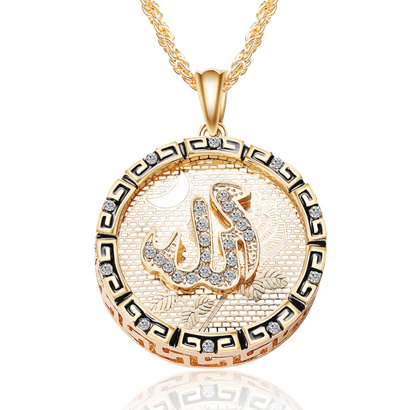 New Gold Filled CZ Iced Out Allah Coin Pendant Moon Islam