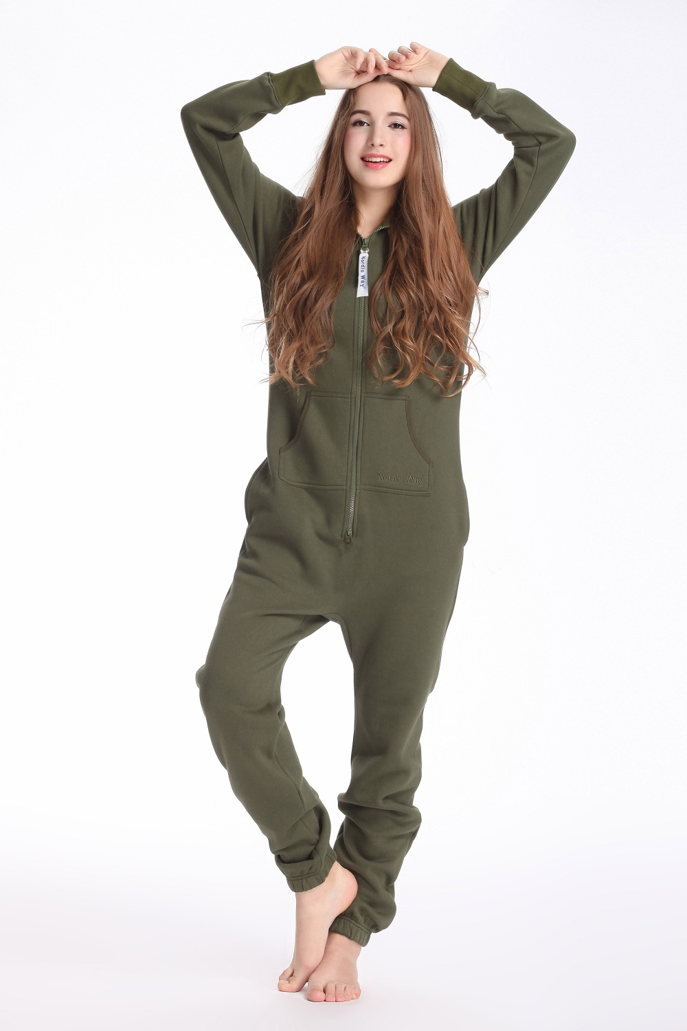 Nordic Way Army Green One Piece Jumpsuit Hoodies Fleece Zip Women Men Romper