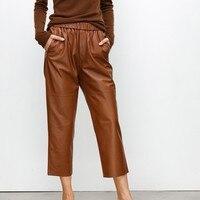 Для женщин Роскошные пояса из натуральной кожи мотобрюки бойфренда свободные овчины женские брюки для девочек натуральный