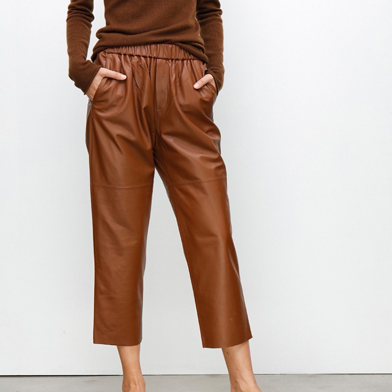 Women Casual Elastic Waist Wide Leg Harem Pants Luxury Genuine Leather Boyfriend Loose Fit Trousers Female Pants Natural Leather