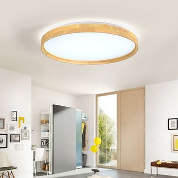 18W LED Modern Ceiling Light Round Wooden Ceiling Light Fixture Remote Control Indoor Bedroom Surface Mounted Decor Lighting