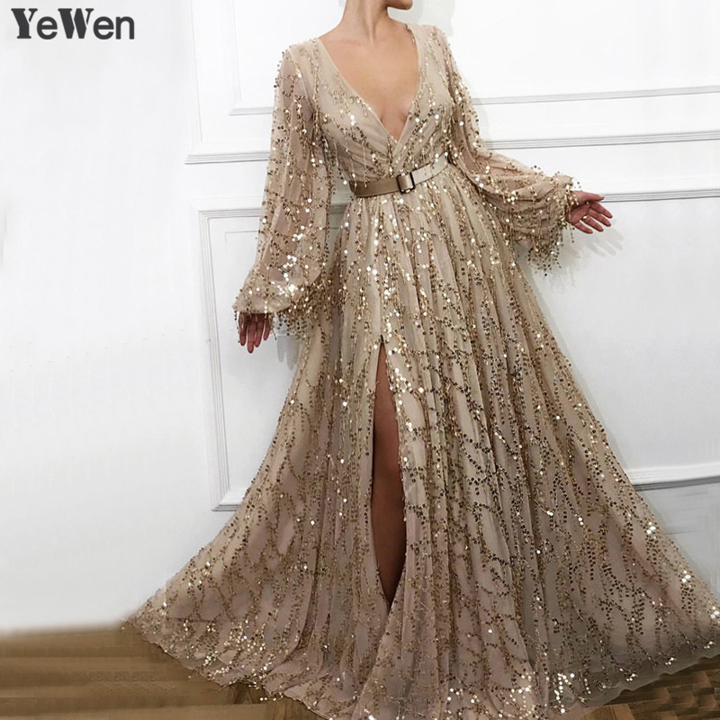 Gorgeous Champagne Evening Dresses Sexy Deep V Neck Evening Gown High Split Long Sleeve Sequined Sparkle Evening Dress With Belt