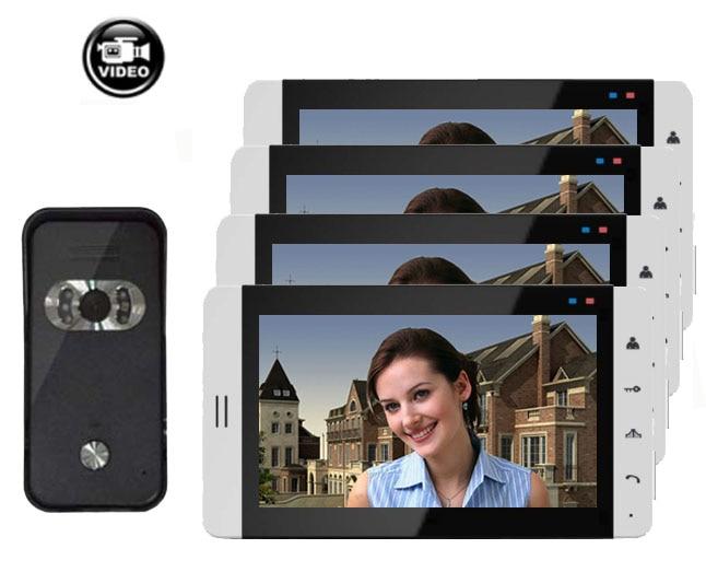 """Система домашнего Интерком охранника """" видео домофон система монитор с функцией записи(опционально) сенсорная кнопка 700TVL ИК камера 1V4 - Цвет: 4X705R V 669HB"""