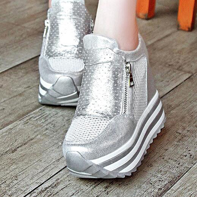 Women Pumps Casual Shoes 12CM Ultra High Sexy Heels Silver New Ladies Girls Evening Shoes