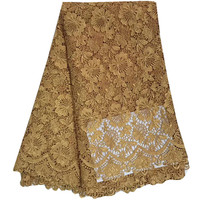 High Quality African Lace Fabrics Gold Color African Mesh Cord Lace Factory Price Guipure Lace Fabrics