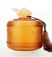 New Year decorations Free shipping large glass handicraft souvenirs birthday gift store tea caddy