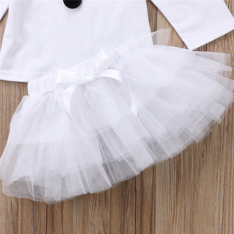 Hot sell Christmas Baby Kids Girls ClothesLong Sleeve Princess Snowman Tops Tulle Tutu Party Dress 2pcs Outfits girls Clothing