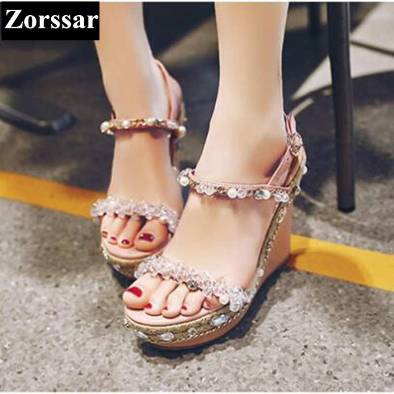 2017 NEW Woman Summer shoes Rhinestone Platform wedges sandals womens High heels pumps Fashion Casual women peep toe shoes plus size 2017 new summer suede women shoes pointed toe high heels sandals woman work shoes fashion flowers womens heels pumps