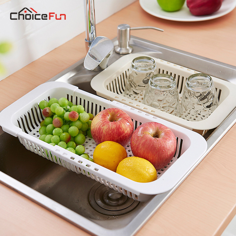ChoiceFun Adjustable Plastic kitchen Sink Plate Dish Drainer Drying Rack Fruit Vegetable Tableware Cutlery Board Wash Drainer