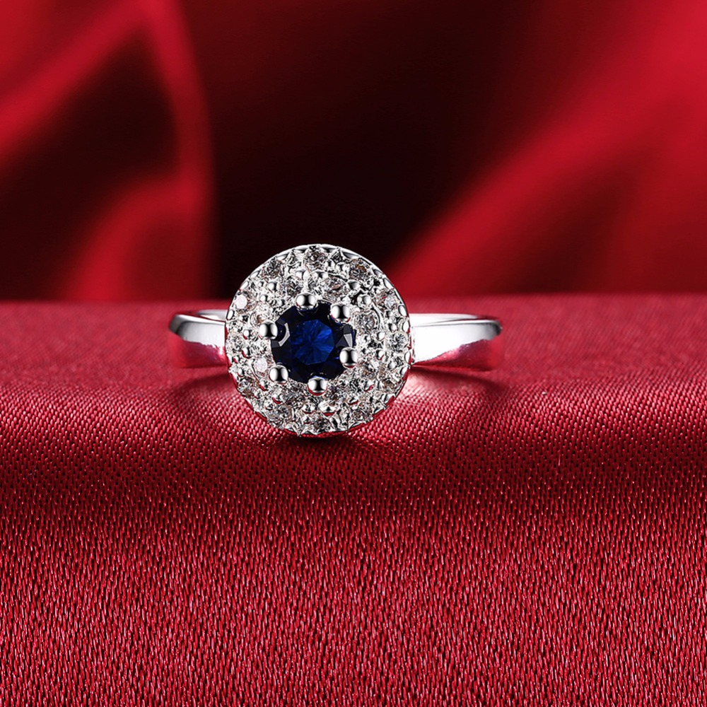 Fashion silver round jewelry blue zircon ring is very pleasantly surprised flashing gift is not allergic to jewelry