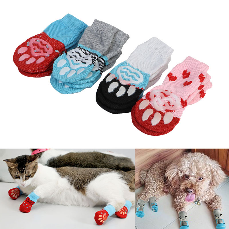4 Pcs Pet Puppy Dog Socks Anti-slip Knitting Breathable Elasticity Warm Winter Indoor MYDING