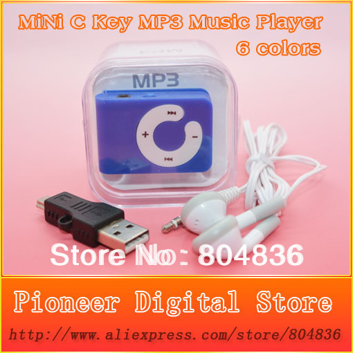 Hot Sell 10pcs lot Mini C Key Clip MP3 Music Player Gift MP3 Support Micro SD