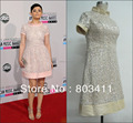Freeshipping Custom-made American Music Awards Ginnifer Goodwin Short Sleeve Taffeta & Lace Celebrity Dress