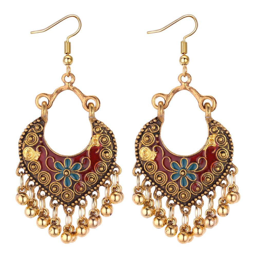 685481d78 Indian Jewelry Kundan style Tassel Earrings Antique Gold Color Classic  Bohemian Dangle Drop Earrings for Women