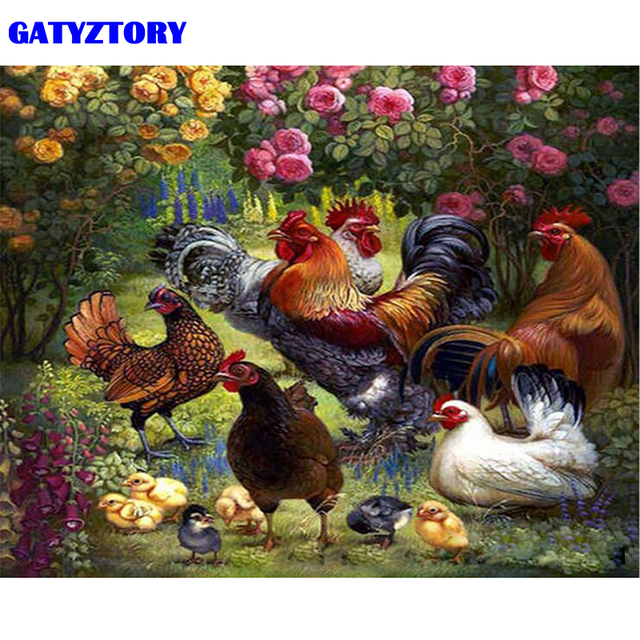 GATYZTORY Frame Cock Family Animals DIY Painting By Numbers Wall Art Picture Acrylic Paint On Canvas Hand Painted For Home Decor