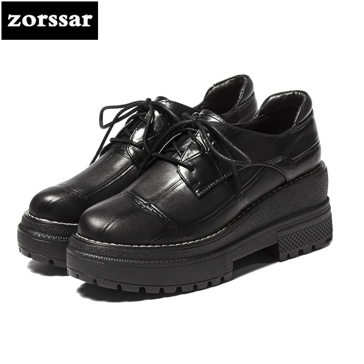 {Zorssar} 2018 NEW Fashion Genuine Leather womens Platform Oxford shoes casual Lace-up Square heel Round toe High heels europe america fashion star cutout lace up high heel shoes for women square toe platform wedges brogue oxford casual shoes us 10