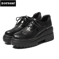 Zorssar 2018 NEW Fashion Genuine Leather Womens Platform Oxford Shoes Casual Lace Up Square Heel