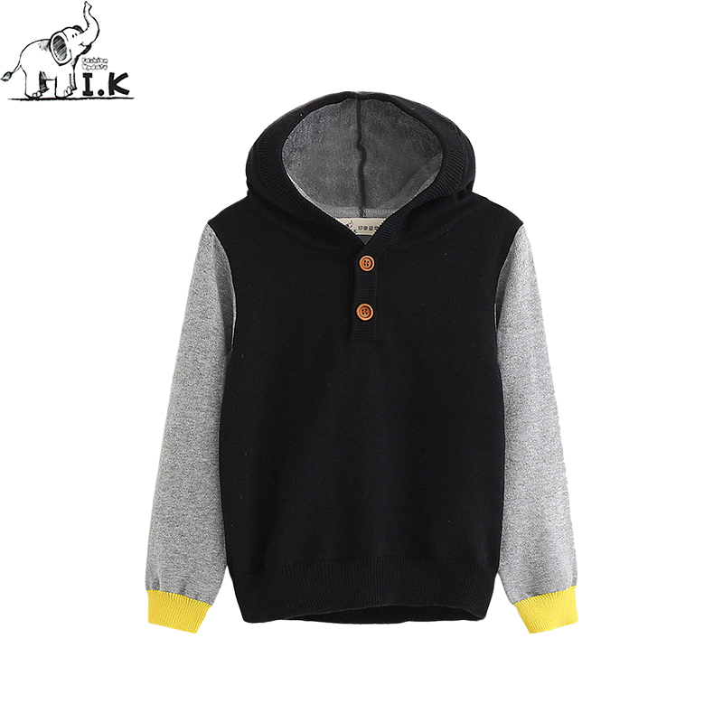 I.K boys sweater baby kids knitwear hooded long sleeve pullover top color matching children cloth Autumn Spring new MO26009
