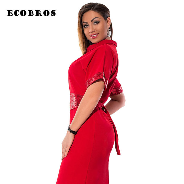 ECOBROS Big size 6XL 2017 Spring Fat MM Woman dress solid short sleeve patchwork  dresses plus 171421c8aaa5