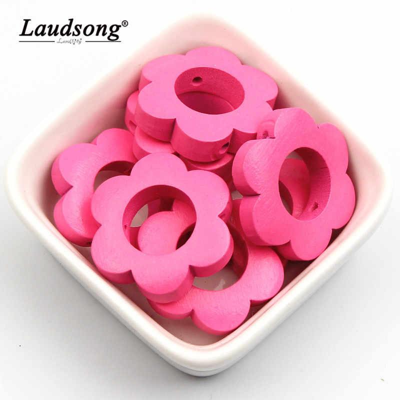 10 шт. 30 мм Цветок Форма деревянные разделители для свободные деревянные бусины для изготовления ювелирных изделий для детей игрушки DIY аксессуары, браслеты