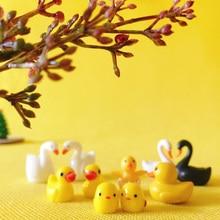 sale~2Pcs duck chick swan/animals//miniatures/cute/ fairy garden/gnome/moss terrarium decor/crafts/bonsai figurine/diy supplies