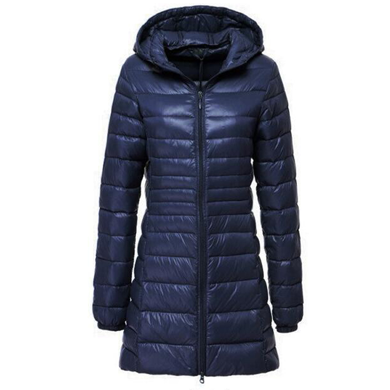 Parkas   Mujer 2019 Brand Women Long Thin Light Down Jacket Women's Autumn Winter Hooded Zipper   Parka   Jaqueta Casaco Feminino Coat