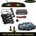 Envío Gratis 1 Unidades Kit de Sensor de Aparcamiento LED Display 4 Sensores Del Coche para todos los coches Asistencia Inversa Monitor de Reserva Del Radar sistema