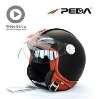(2018) italiaanse Ontwerp ECE DOT motorhelm Cascos Jet Unisex Open Gezicht Vintage roer Lederen Stijl Casuque Retro PEDA MOTOR