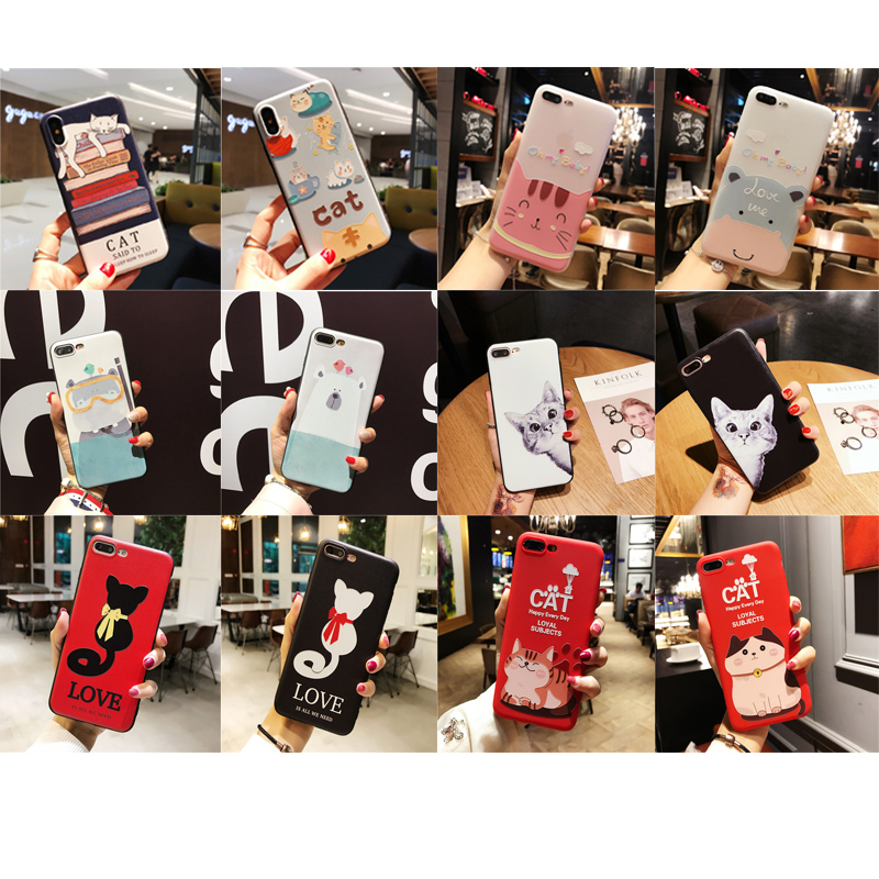 Cartoon animal 3D Relief Cute cat Bear phone case TPU Silicone Rubber Soft Cover Cases for iphone 5 5S SE 6 6S 7 8 Plus X 7Plus