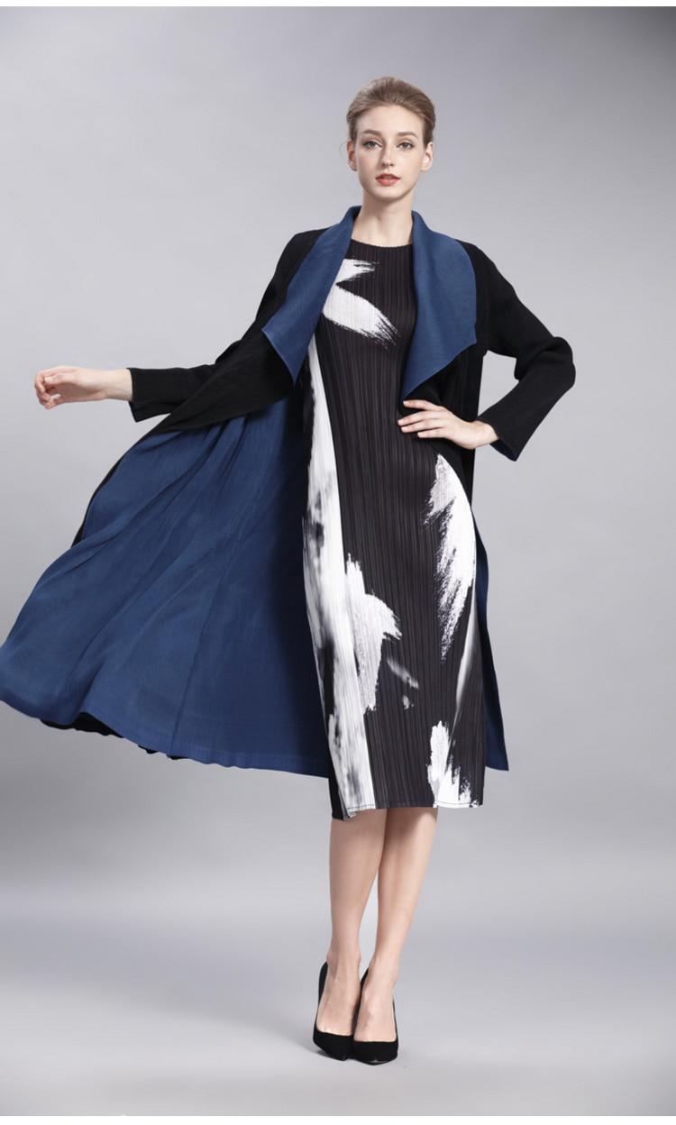 Tranchée Femmes Pour 2017 Automne La Manteau Cardigan Long Manches Deux Côtés Taille Mode Plus Plissée De See Changpleat Les Miyak Design Longues Usure Chart dCxBoeWrQE