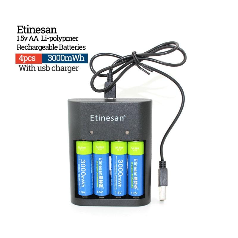 4 pcs AA 1.5 v Baterias Recarregáveis de iões de Lítio Li-po Etinesan 3000mwh + 4 SLOTS carregador USB