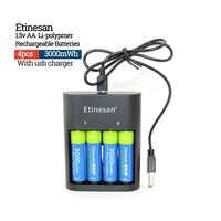 4 pz AA 1.5 v 3000mwh Etinesan Batterie agli ioni di Litio Li-po Ricaricabile + 4 SLOT caricabatterie USB