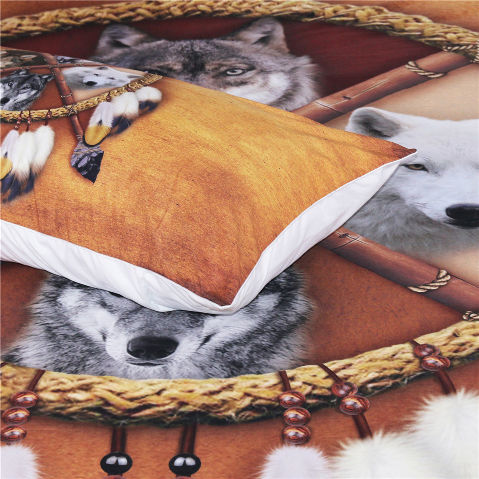 Image 3 - BlessLiving Wolves Bedding Set Queen Dreamcatcher Wolf Duvet 