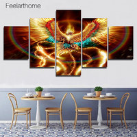 5 Piece Canvas Wall Art HD Posters And Prints Canvas Gold Phoenix Bird Painting For Living