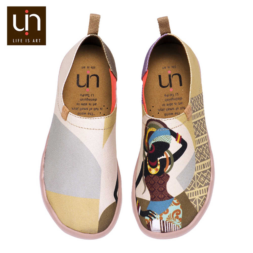 UIN African Beauty Design Art Painted Women Loafers Wide Feet Canvas Shoes for Ladies Walking Sneakers Lightweight Casual Shoes